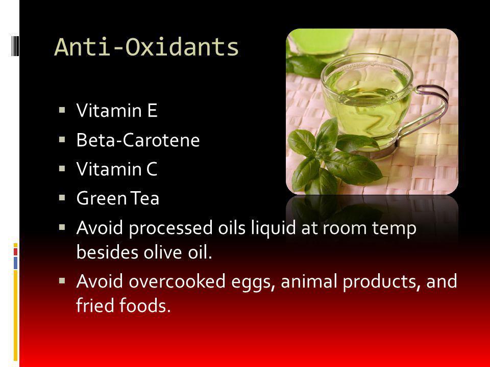 Anti-Oxidants Vitamin E Beta-Carotene Vitamin C Green Tea