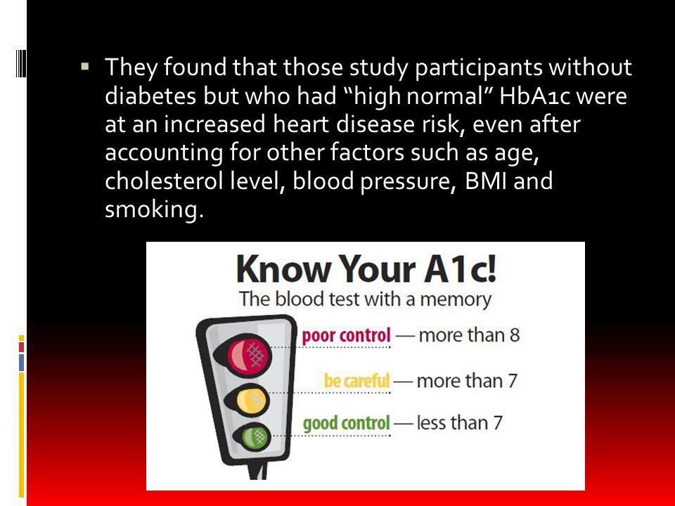 They found that those study participants without diabetes but who had high normal HbA1c were at an increased heart disease risk, even after accounting for other factors such as age, cholesterol level, blood pressure, BMI and smoking.
