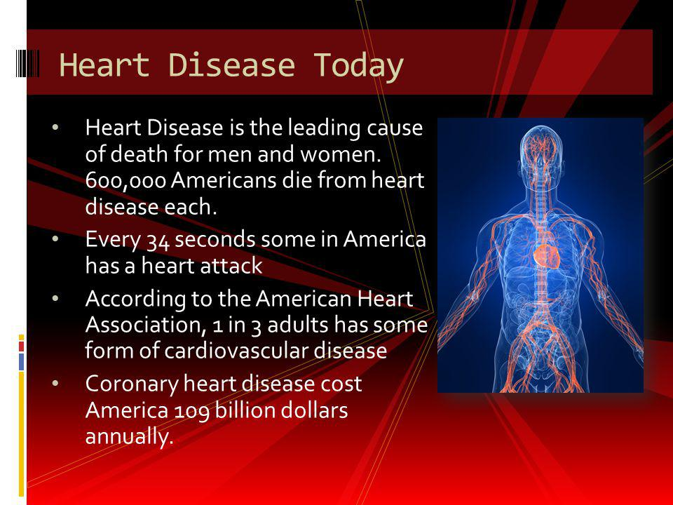 Heart Disease Today Heart Disease is the leading cause of death for men and women. 600,000 Americans die from heart disease each.
