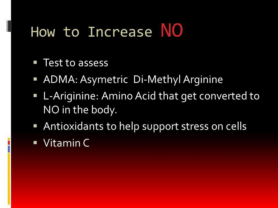 How to Increase NO Test to assess ADMA: Asymetric Di-Methyl Arginine