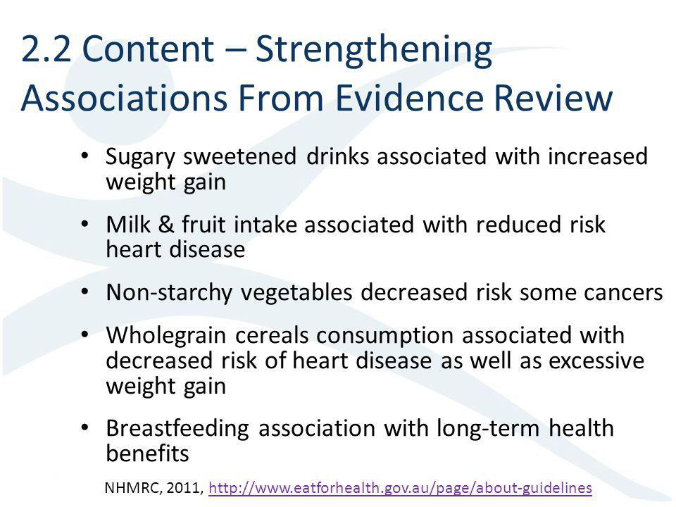 2.2 Content – Strengthening Associations From Evidence Review