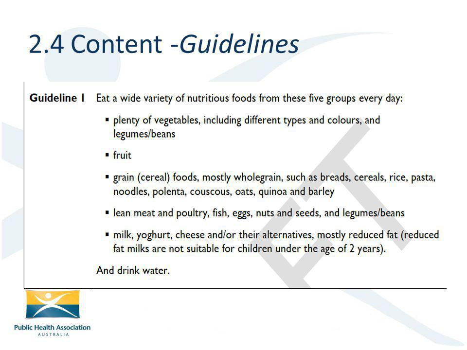 2.4 Content -Guidelines