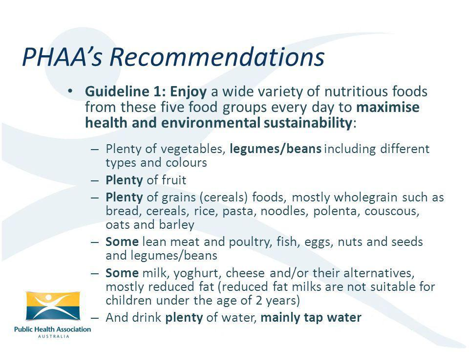 PHAA's Recommendations