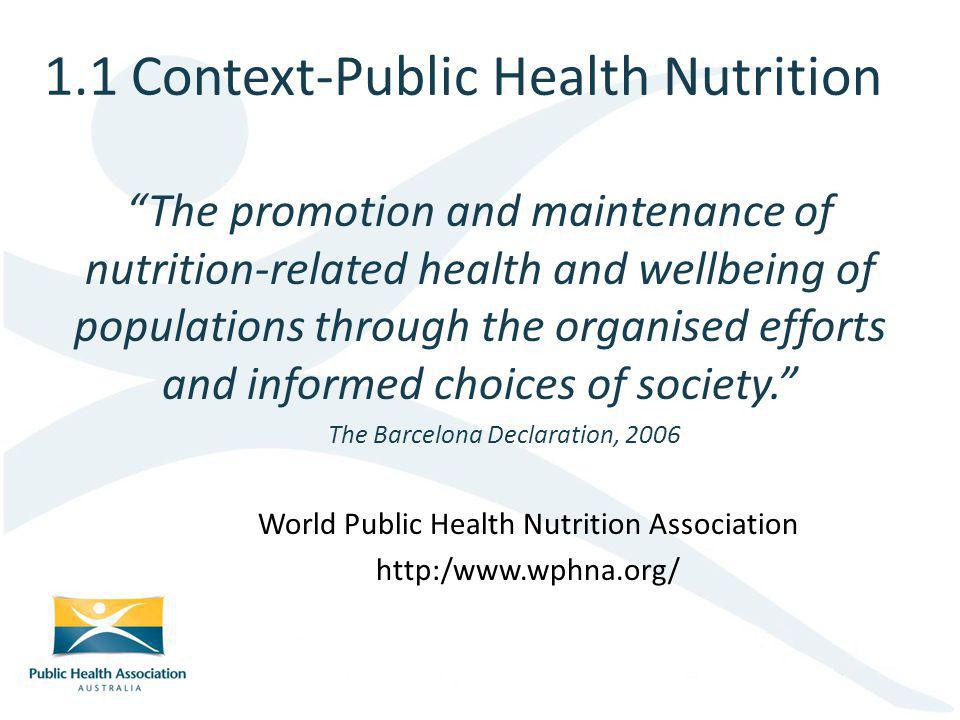 1.1 Context-Public Health Nutrition