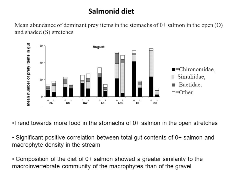 Salmonid diet ■=Chironomidae, ▒=Simuliidae, ■=Baetidae, □=Other.