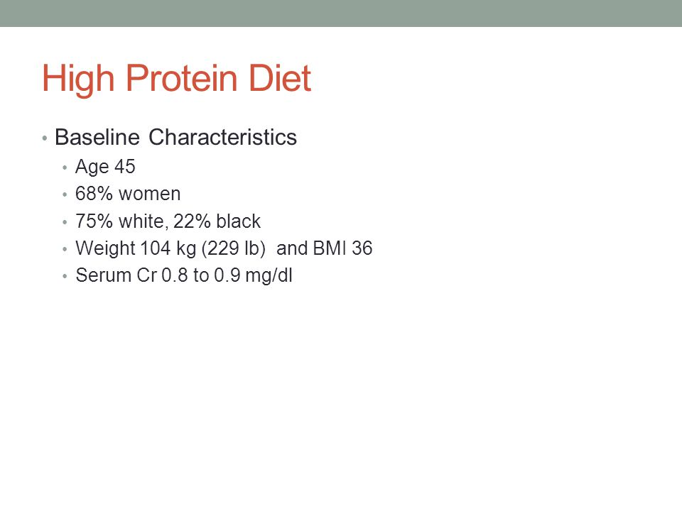 High Protein Diet Baseline Characteristics Age 45 68% women