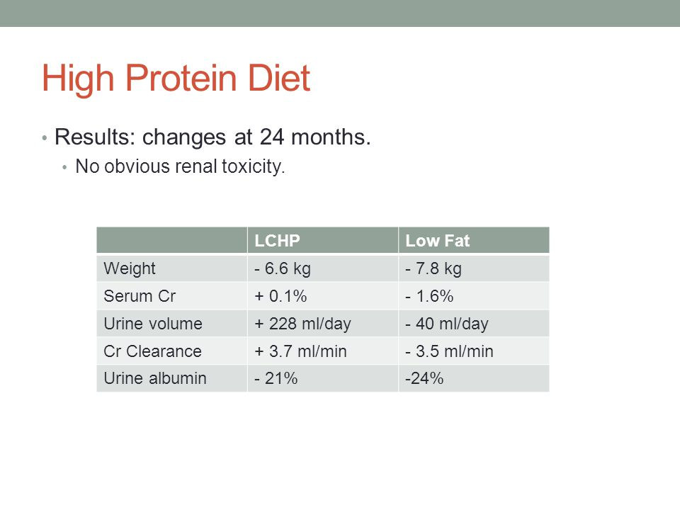 High Protein Diet Results: changes at 24 months.