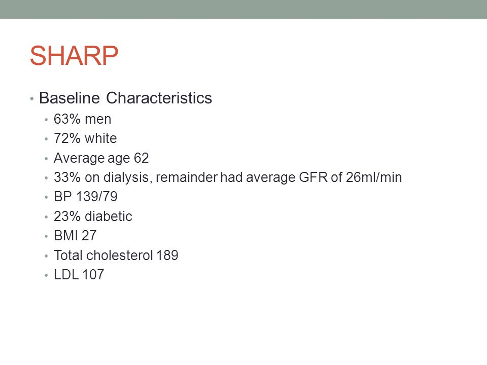 SHARP Baseline Characteristics 63% men 72% white Average age 62