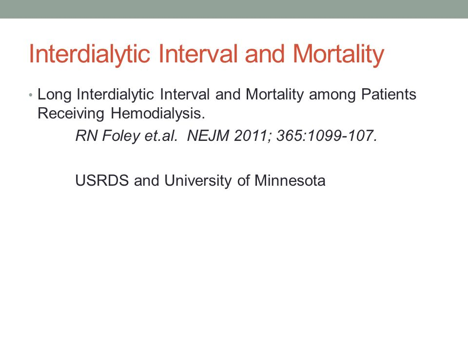 Interdialytic Interval and Mortality