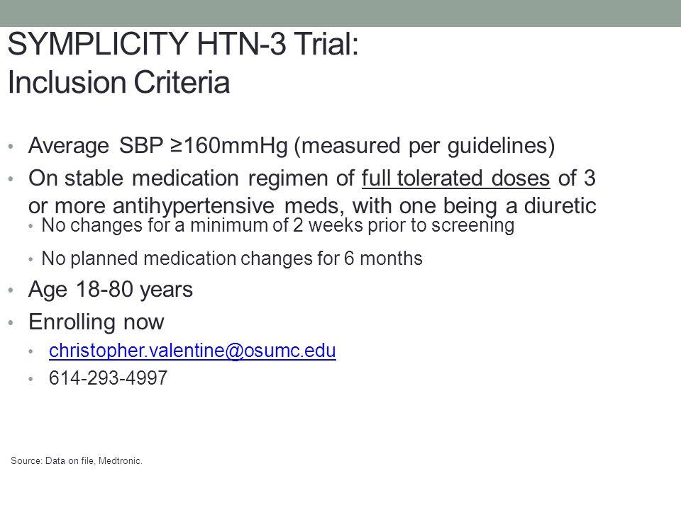 SYMPLICITY HTN-3 Trial: Inclusion Criteria