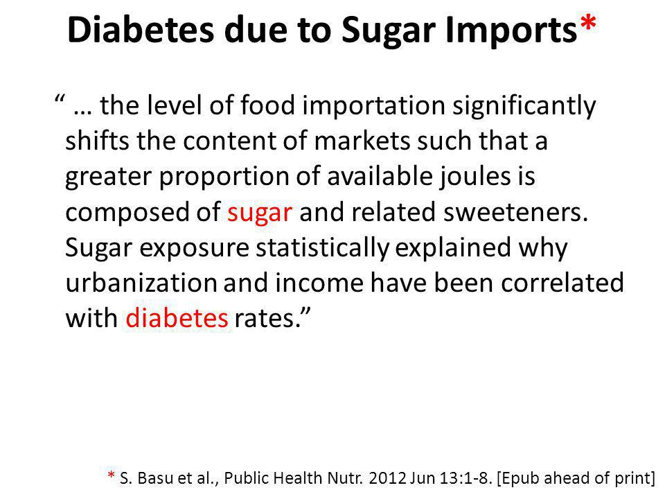 Diabetes due to Sugar Imports*