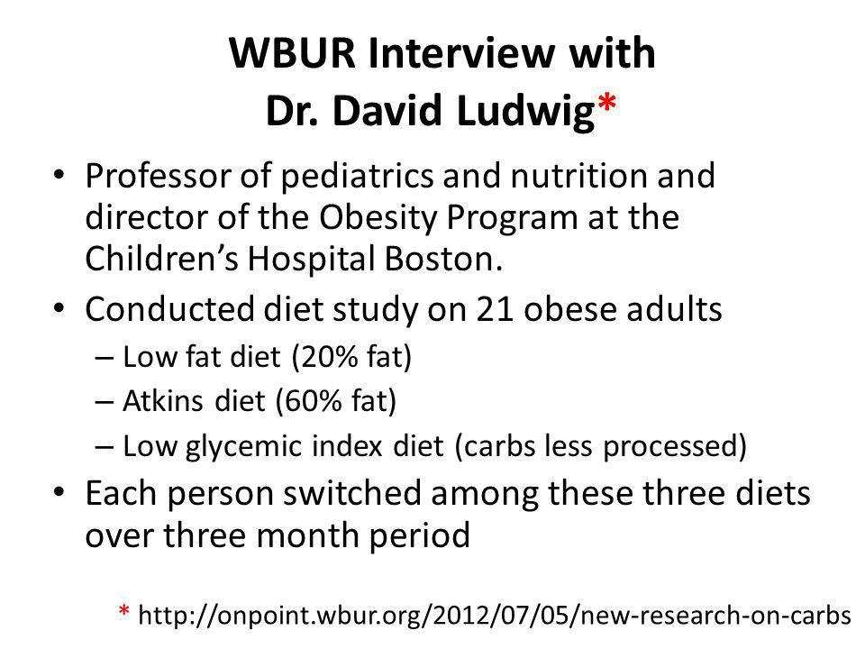WBUR Interview with Dr. David Ludwig*