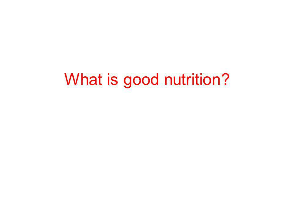 What is good nutrition