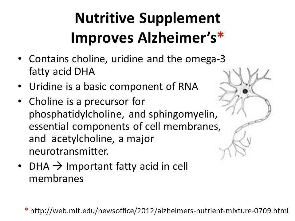 Nutritive Supplement Improves Alzheimer's*