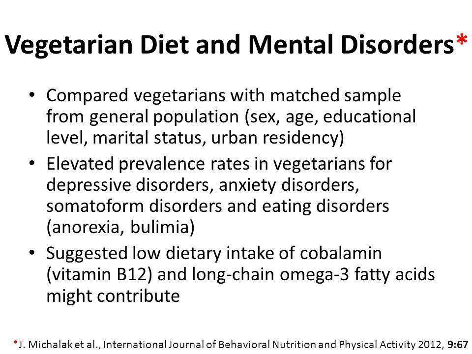 Vegetarian Diet and Mental Disorders*