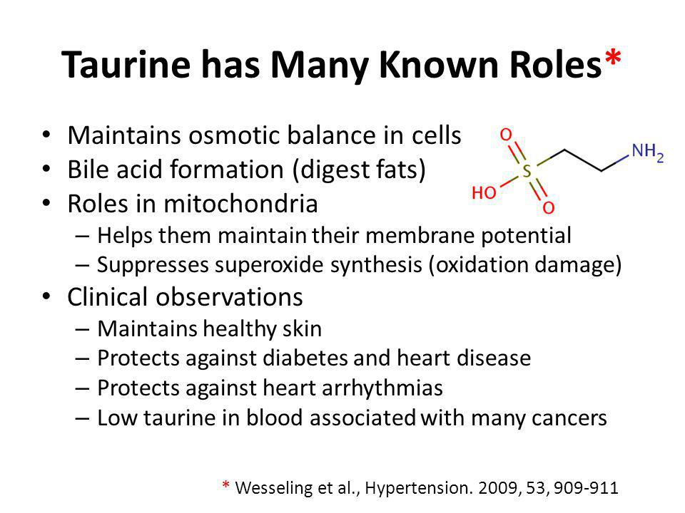 Taurine has Many Known Roles*