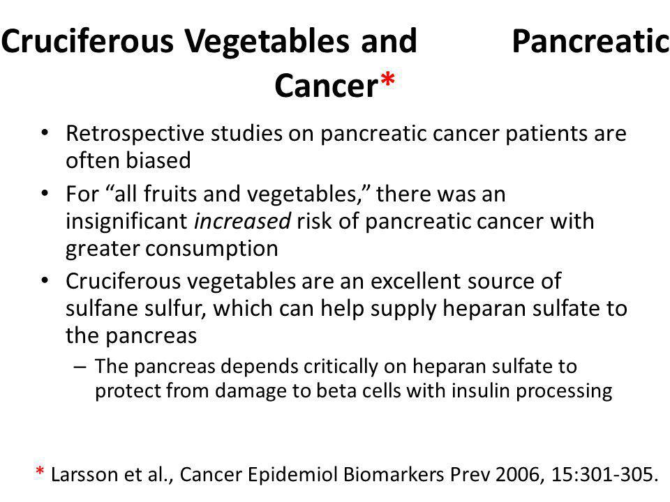 Cruciferous Vegetables and Pancreatic Cancer*