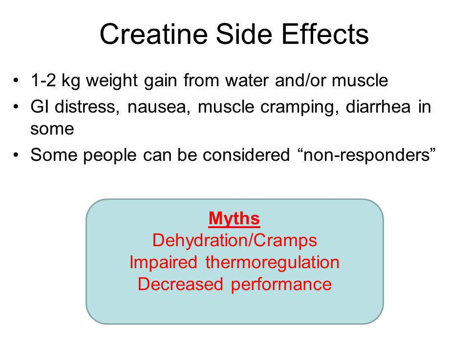 Creatine Side Effects 1-2 kg weight gain from water and/or muscle