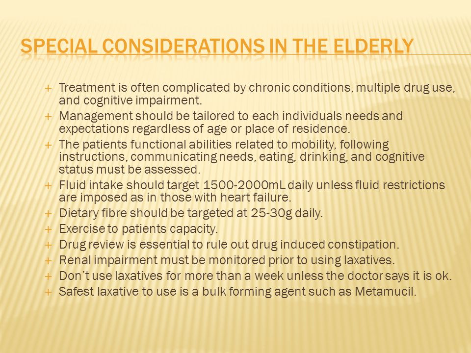 Special Considerations in the elderly