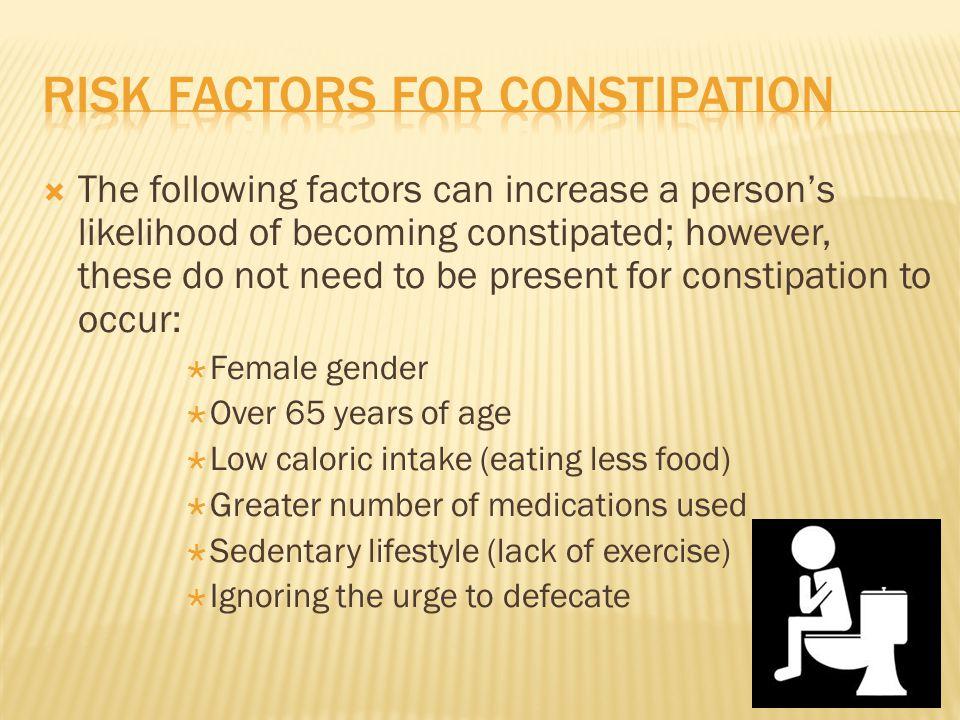 Risk factors for constipation