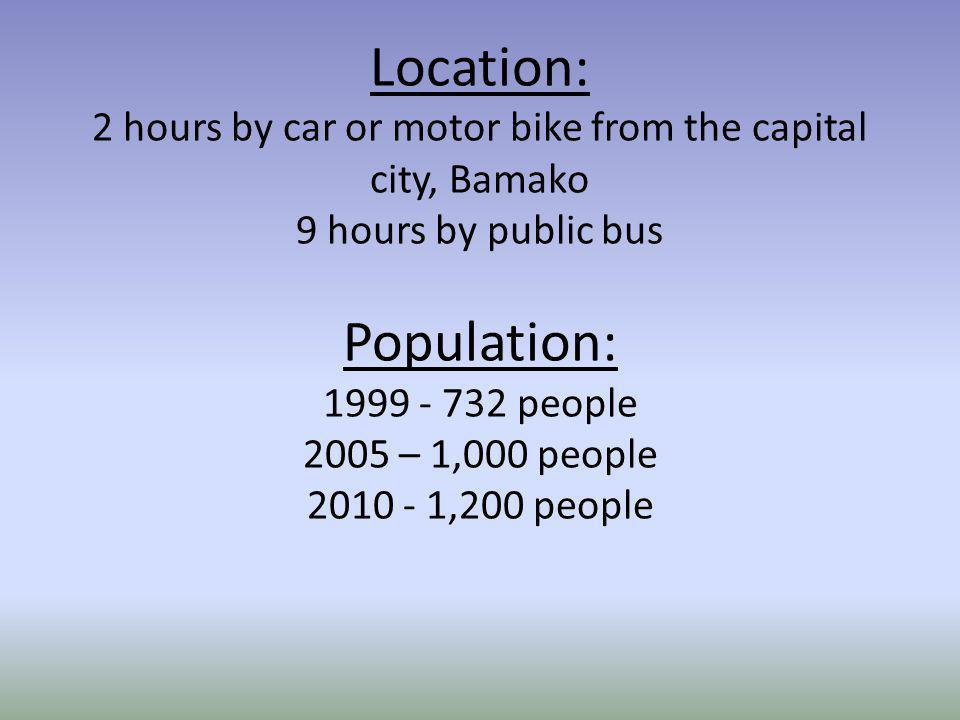 Location: 2 hours by car or motor bike from the capital city, Bamako 9 hours by public bus Population: 1999 - 732 people 2005 – 1,000 people 2010 - 1,200 people
