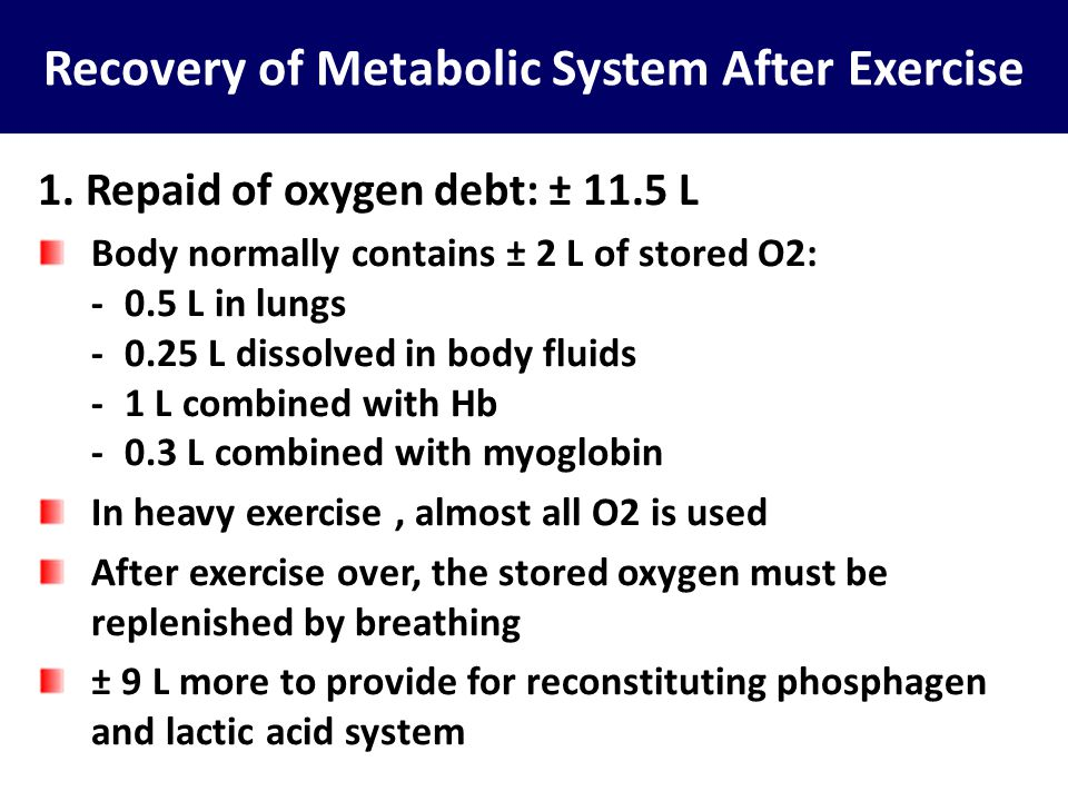 Recovery of Metabolic System After Exercise