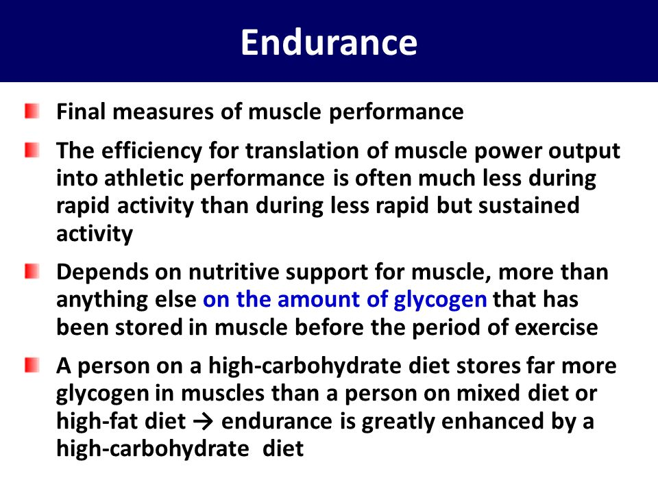 Endurance Final measures of muscle performance