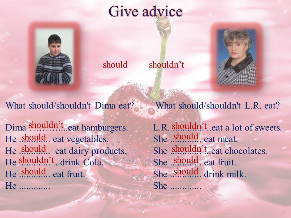 Give advice should shouldn't What should/shouldn t Dima eat