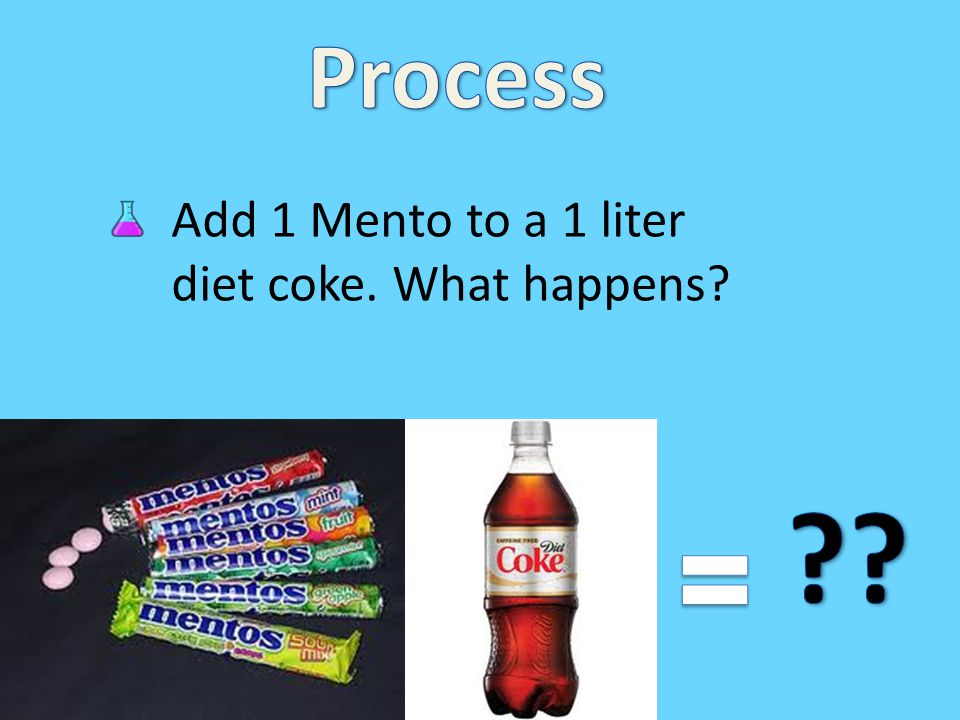 Process Add 1 Mento to a 1 liter diet coke. What happens