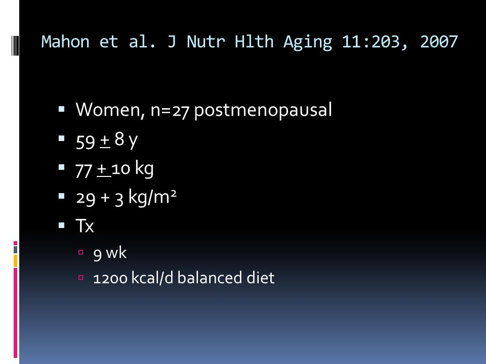 Mahon et al. J Nutr Hlth Aging 11:203, 2007
