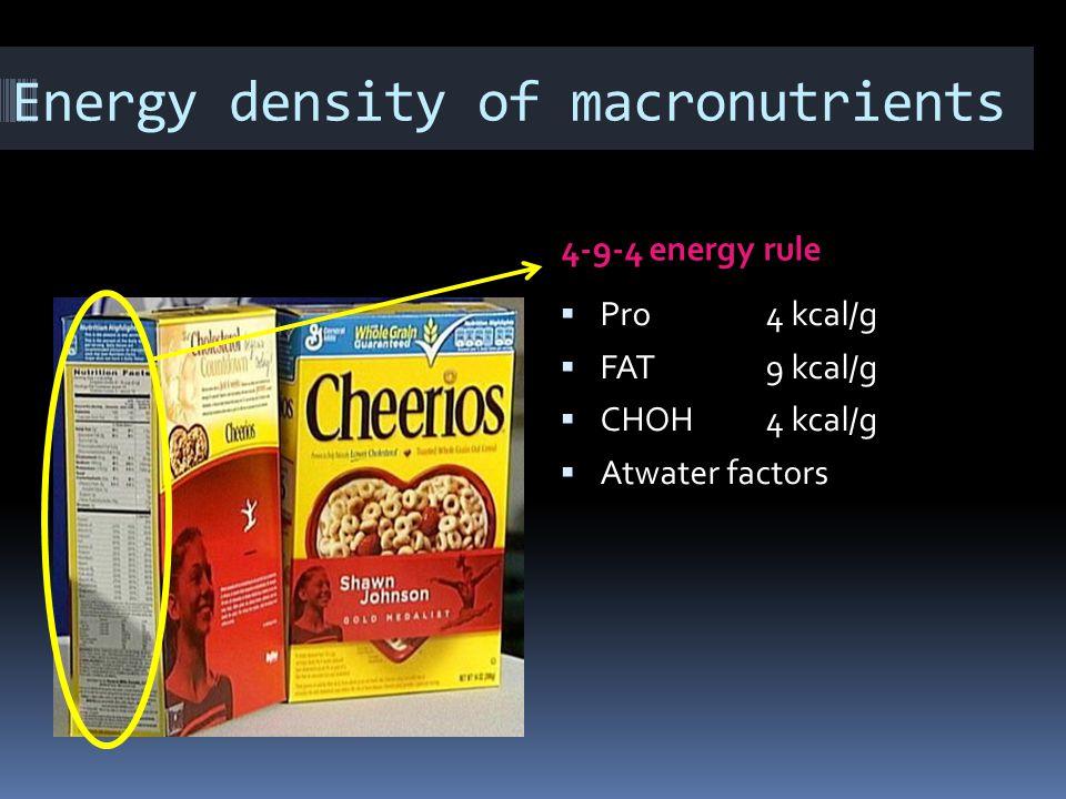Energy density of macronutrients