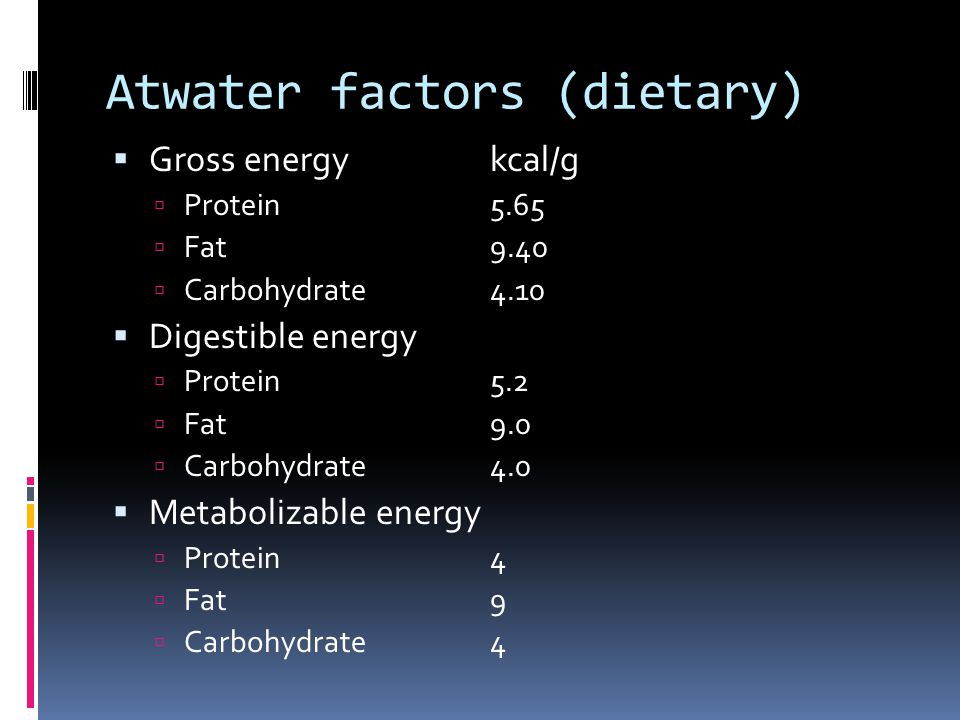 Atwater factors (dietary)
