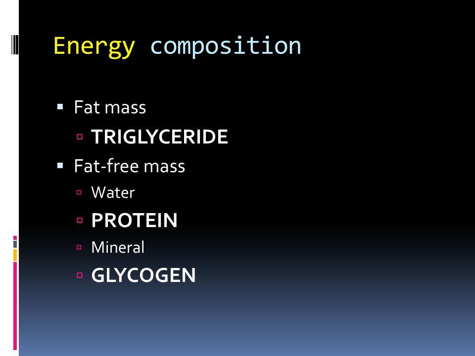Energy composition Triglyceride Protein Glycogen Fat mass