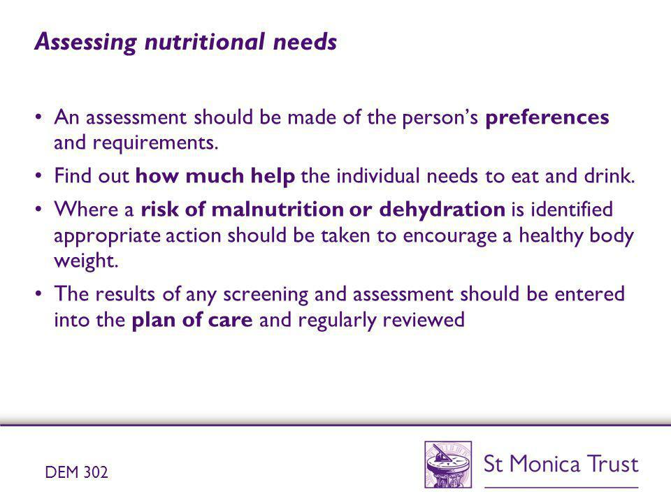 Assessing nutritional needs