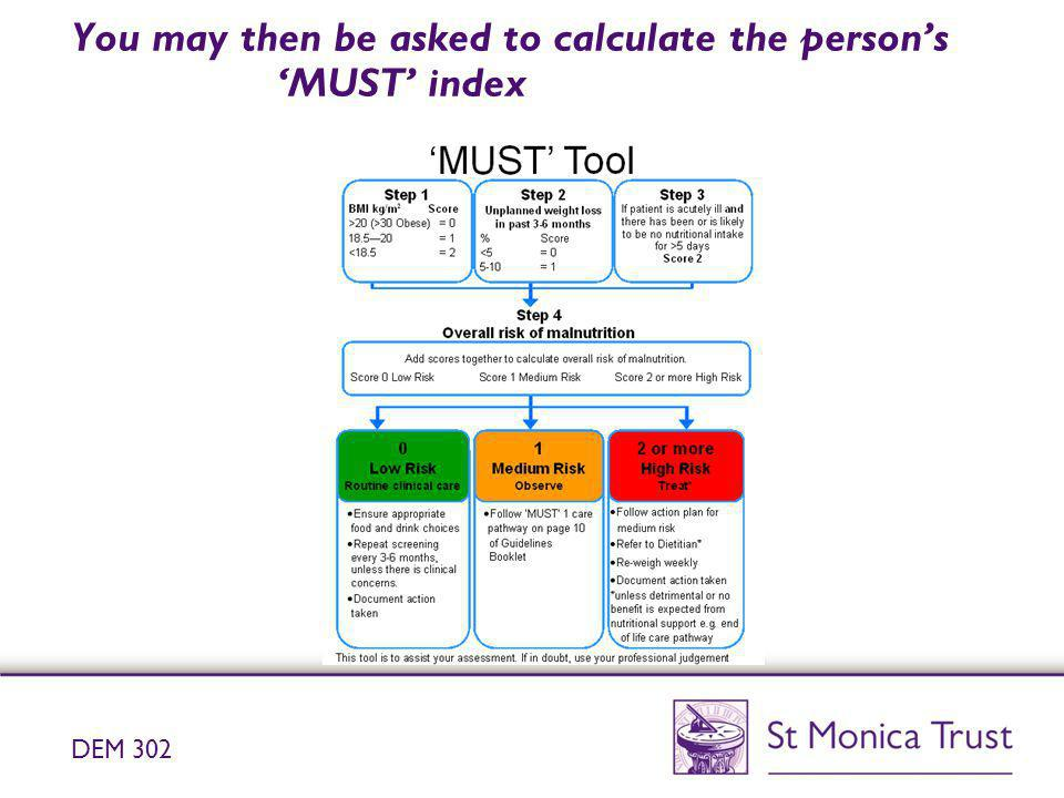 You may then be asked to calculate the person's 'MUST' index