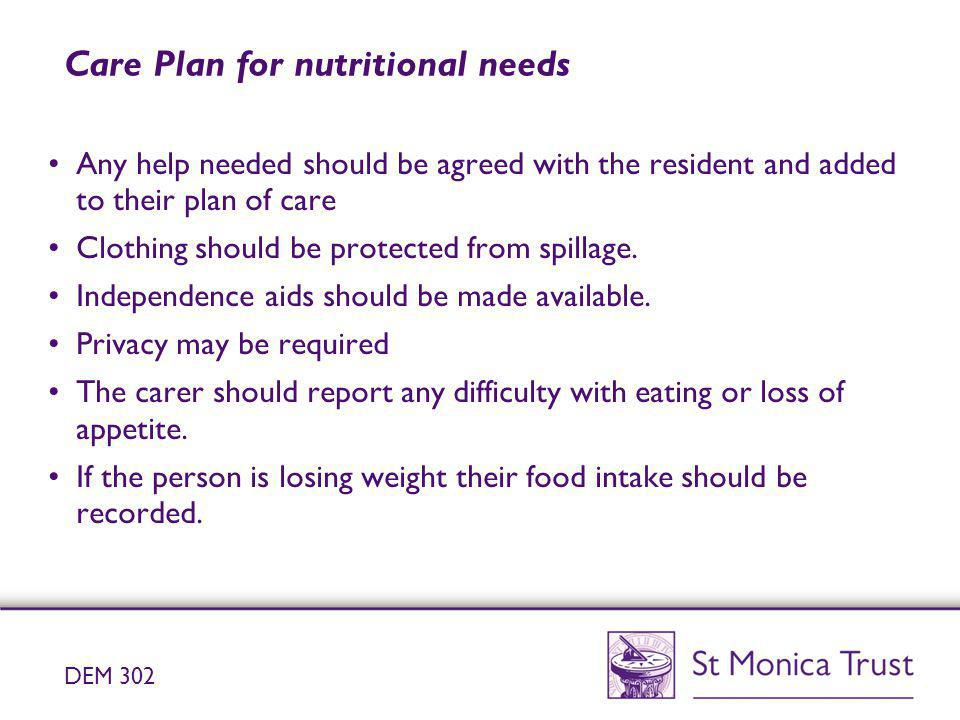 Care Plan for nutritional needs