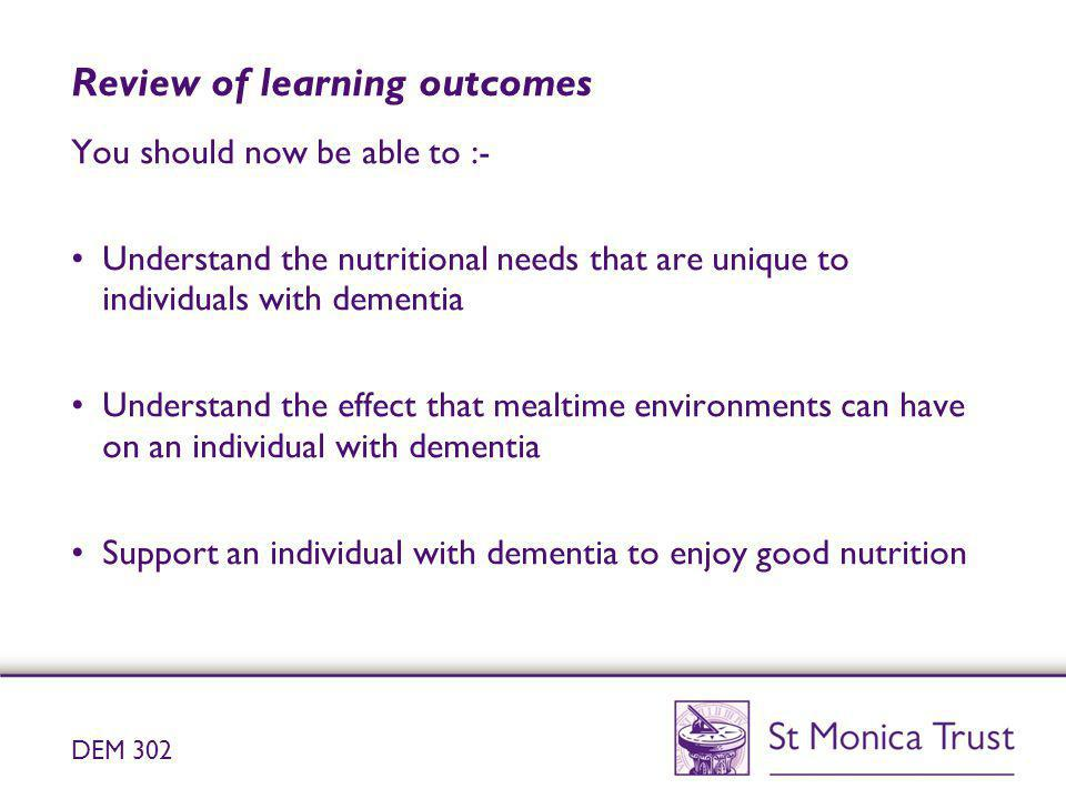 Review of learning outcomes