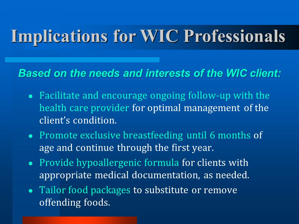 Implications for WIC Professionals