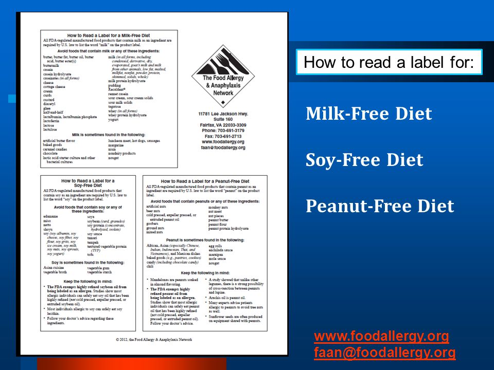 Milk-Free Diet Soy-Free Diet Peanut-Free Diet How to read a label for: