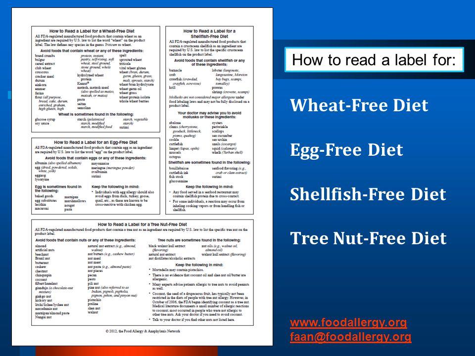 Wheat-Free Diet Egg-Free Diet Shellfish-Free Diet Tree Nut-Free Diet