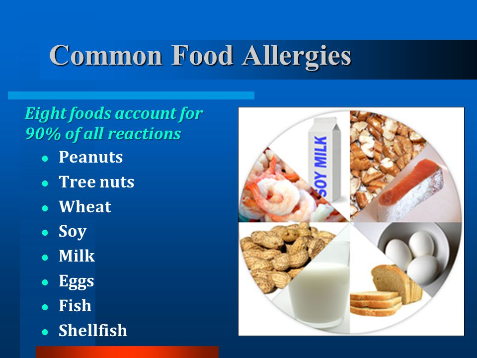 Common Food Allergies Eight foods account for 90% of all reactions