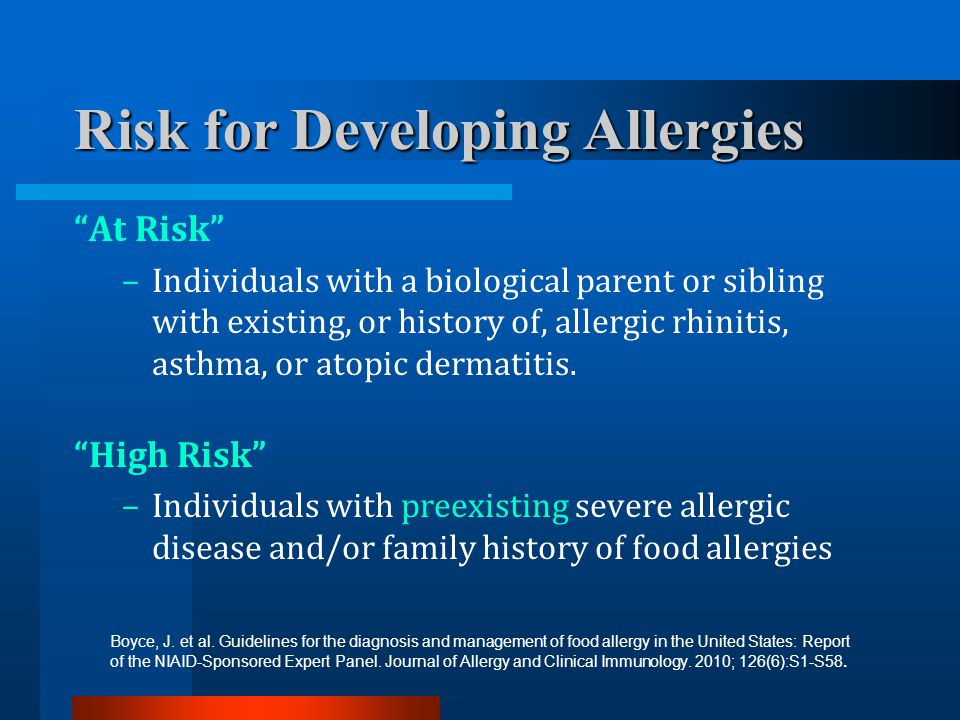 Risk for Developing Allergies
