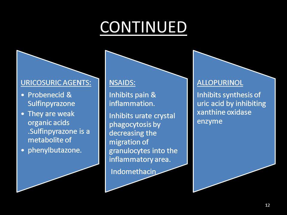 CONTINUED URICOSURIC AGENTS: Probenecid & Sulfinpyrazone