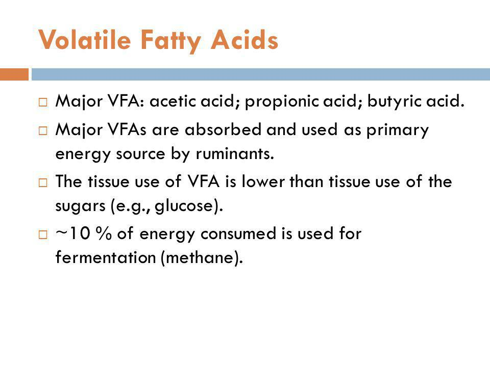 Volatile Fatty Acids Major VFA: acetic acid; propionic acid; butyric acid. Major VFAs are absorbed and used as primary energy source by ruminants.