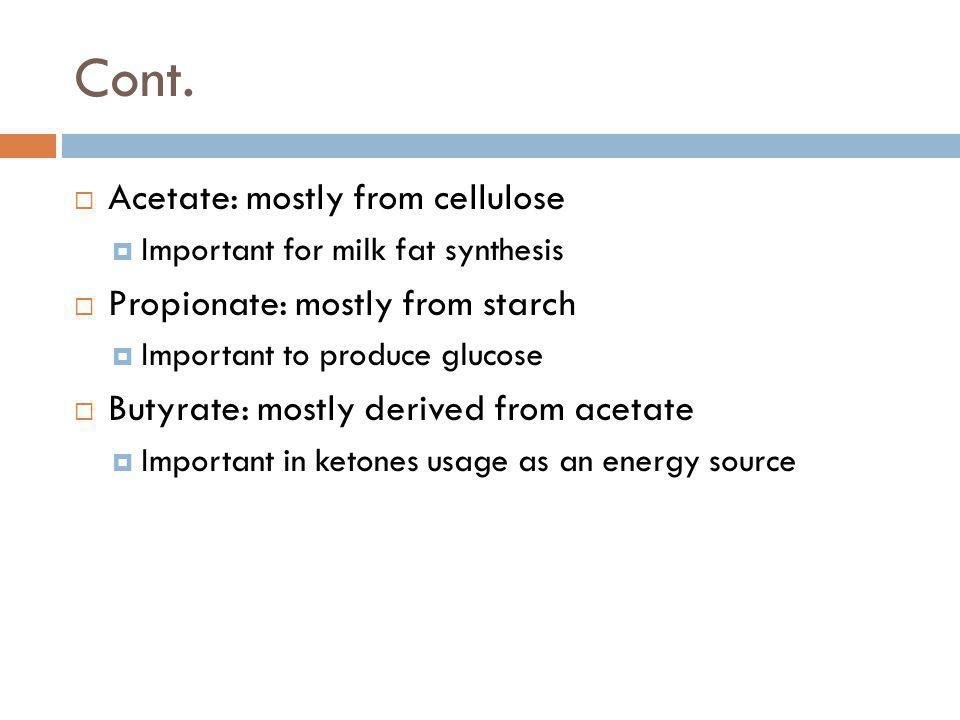 Cont. Acetate: mostly from cellulose Propionate: mostly from starch