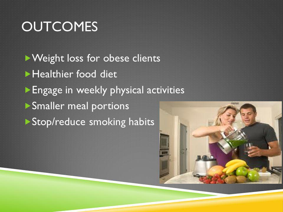 Outcomes Weight loss for obese clients Healthier food diet