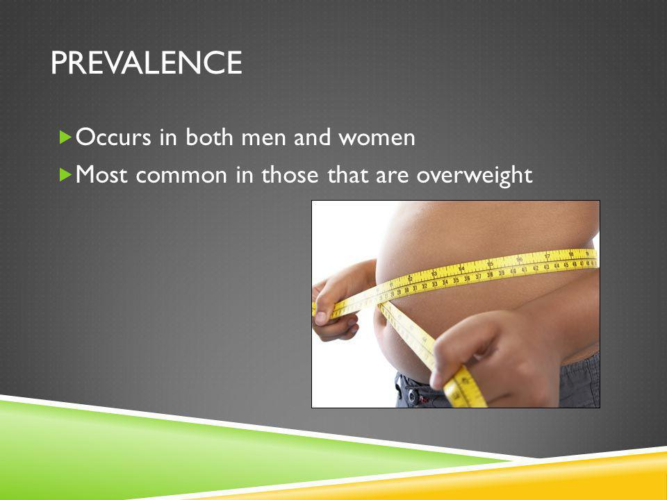 Prevalence Occurs in both men and women