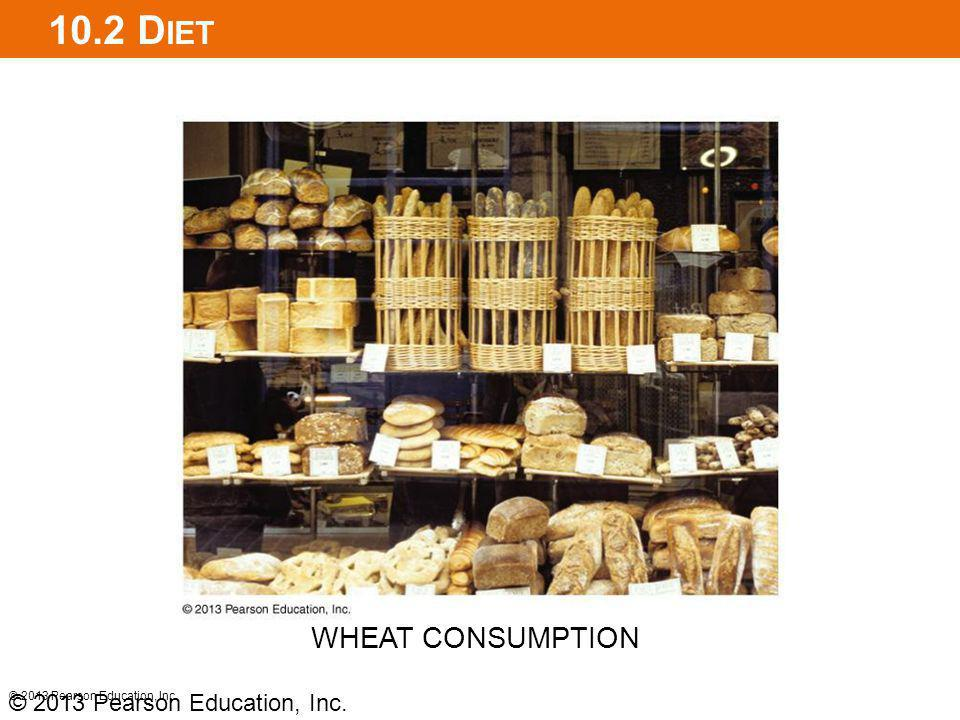 10.2 Diet WHEAT CONSUMPTION © 2013 Pearson Education, Inc.