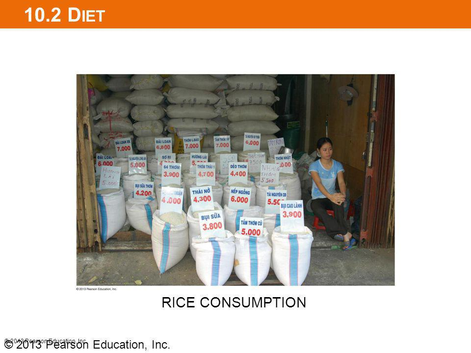 10.2 Diet RICE CONSUMPTION © 2013 Pearson Education, Inc.