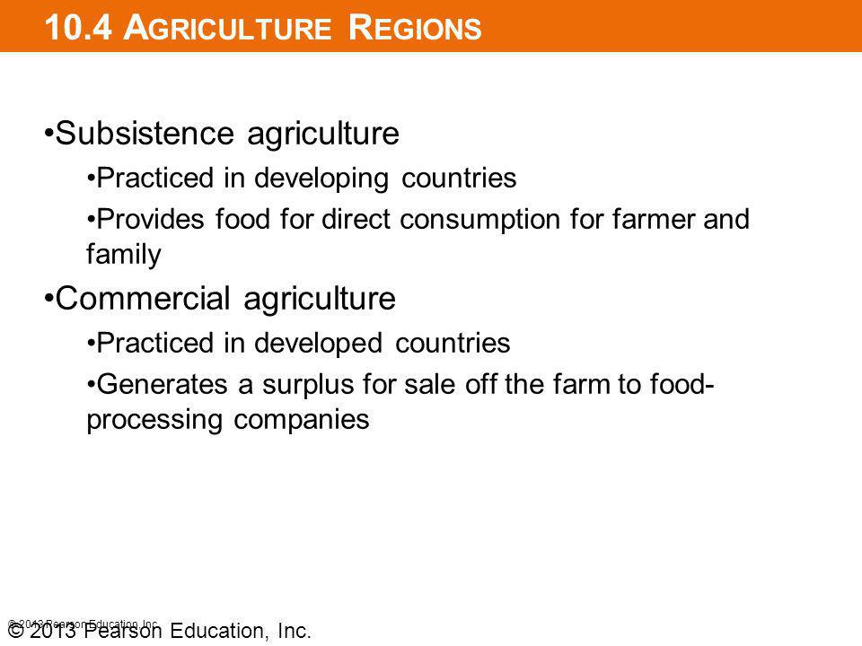 10.4 Agriculture Regions Subsistence agriculture
